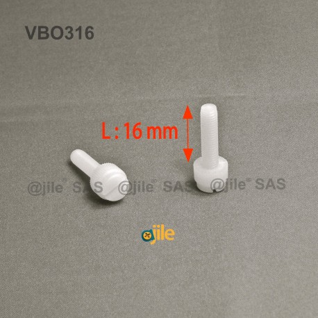 M3 x 16 : Knurled plastic slotted screw: diam. M3 length 16 mm - Ajile