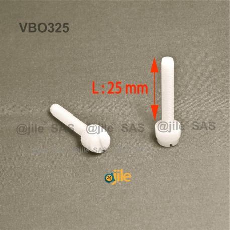 M3x25 : Vis plastique moletée fendue diam. M3 longueur:25 mm - Ajile