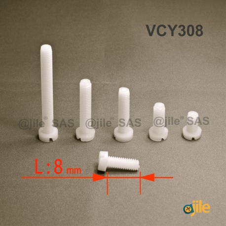 M3x8 : Vis plastique tête ronde fendue diam. M3 longueur L:8 mm - Ajile