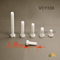 M3x30 : Vis plastique tête ronde fendue diam. M3 longueur L:30 mm - Ajile