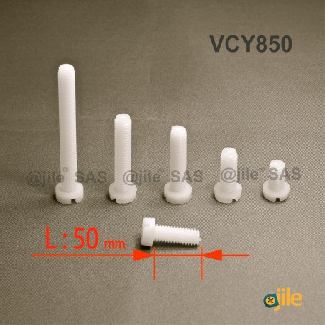 Vite M8 x 50 mm DIN84 di plastica con testa rotonda a spacco diam. M8 lunghezza 50 mm - Ajile
