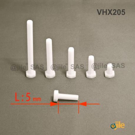 M2.5 x 5 mm Sechskantschraube aus Kunststoff: diam. M2.5: 5 mm Schlüssel, Länge 5 mm - DIN933 - Ajile