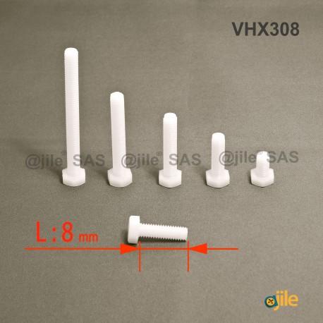 Bullone M3 x 8 mm DIN933 esagonale di plastica diam. M3 chiave di 5,5 mm  lunghezza 8 mm - Ajile