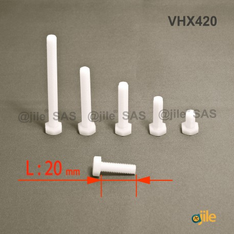 M4 x 20 DIN933 : Plastic hex. Bolt for 7 mm wrench: diam. M4  length 20 mm - Ajile