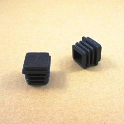 25x25 mm Felt-base square insert - BLACK - ribbed insert and glide for furniture feet.