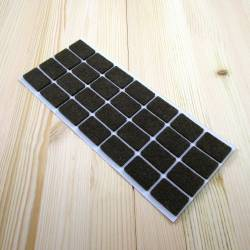 20x30 mm rectangular felt pads BROWN - sheet of 28 self-adhesive furniture pads.