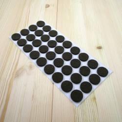 Patin feutre diamètre 24 mm  de protection BRUN - plaque de 36 patins anti-bruit à coller