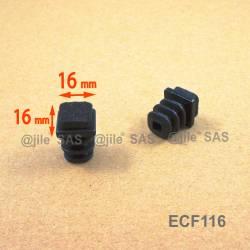 Inserto scivolante 16x16 mm puntale quadro alettato con feltro - NERO