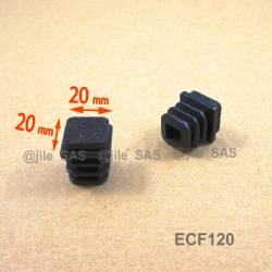 Inserto scivolante 20x20 mm inserto quadrato scivolante per mobili - NERO