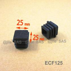 25x25 mm Felt-base square insert - BLACK - ribbed insert and glide for furniture feet.