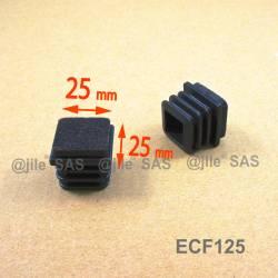Inserto scivolante 25x25 inserto quadro alettato di protezione con feltro - NERO