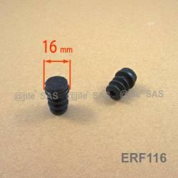 Embout glisseur diam. 16 mm entrant avec semelle en feutre -  NOIR