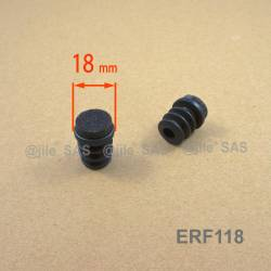 18 mm diam. Felt-base insert - BLACK - round noise reduction furniture end cap.