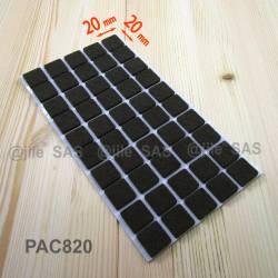 Patin feutre 20x20 mm carré de protection BRUN - plaque de 50 patins anti-bruit adhésifs