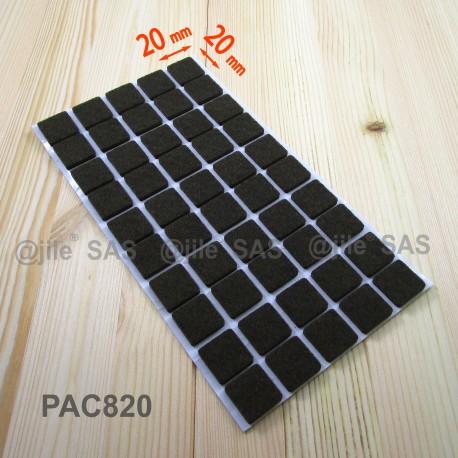 Feltrino adesivo 20x20 mm quadrato di protezzione marrone for Piede quadrato di 20x20