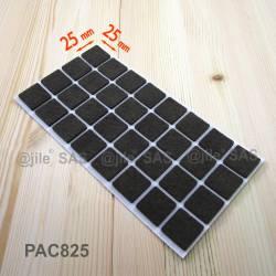 Patin feutre 25x25 mm carré de protection BRUN - plaque de 32 patins anti-rayure adhésifs