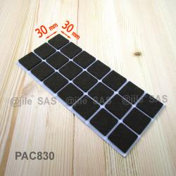 Patin feutre 30x30 mm carré de protection BRUN - plaque de 21 patins protecteurs adhésifs
