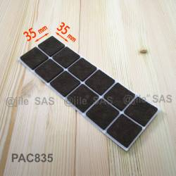 35x35 mm square felt pads BROWN - sheet of 12 self-adhesive wood protector felt pads.