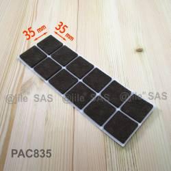 35x35 mm Viereckige Filzgleiter BRAUN - pro Blatt 12 Selbstklebende Stuhlgleiter
