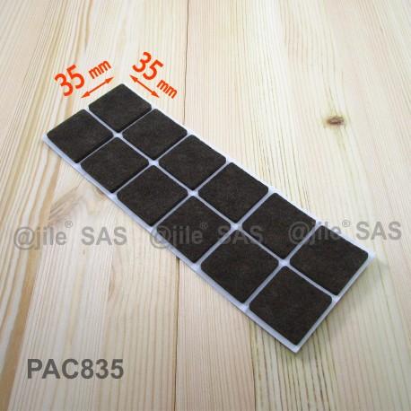 Feltrino adesivo 35x35 mm quadrato di protezzione marrone - Feltrini mobili ...