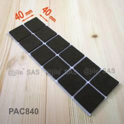 Feltrino adesivo 40x40 mm quadrato di protezzione MARRONE - 12 scivoli adesivi per parquet.