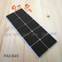 45x45 mm Viereckige Filzgleiter BRAUN - pro Blatt 10 Filzklebegleiter für idealer Holzschutz