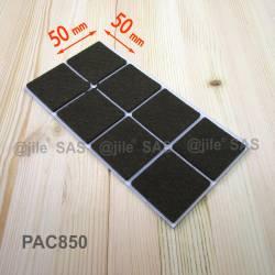 50x50 mm Viereckige Filzgleiter BRAUN - pro Blatt 8 Selbstklebende Möbelgleiter