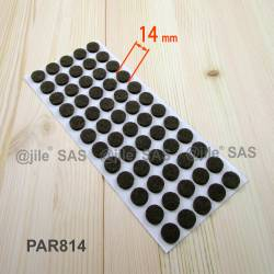 14 mm diameter round felt pads BROWN - sheet of 60 pads fro hardwood floors.