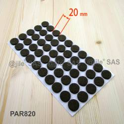 20 mm diameter round felt pads BROWN - sheet of 50 sadhesive scratch protector felt pads.