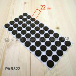 Patin feutre diamètre 10 mm  de protection BRUN - plaque de 108 patins anti-rayure adhésifs