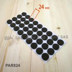 24 mm diameter round felt pads BROWN - sheet of 36 slef-adhesive felt pads.