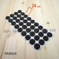 Feltrino adesivo 24 mm rotondo di protezzione MARRONE - 36 scivoli adesivi per parquet.