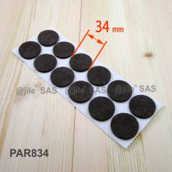 34 mm diameter round felt pads BROWN - sheet of 12 stick-on pads for hardwood floors.