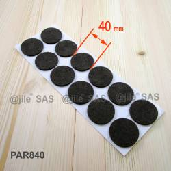 40 mm diameter round felt pads BROWN - sheet of 12 stick-on felt pads.