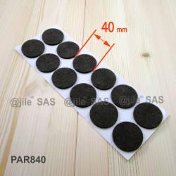 Patin feutre diamètre 40 mm  de protection BRUN - plaque de 12 patins anti-bruit adhésifs