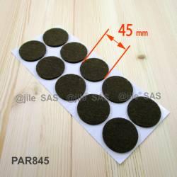 Patin feutre diamètre 45 mm  de protection BRUN - plaque de 10 patins anti-rayure adhésifs