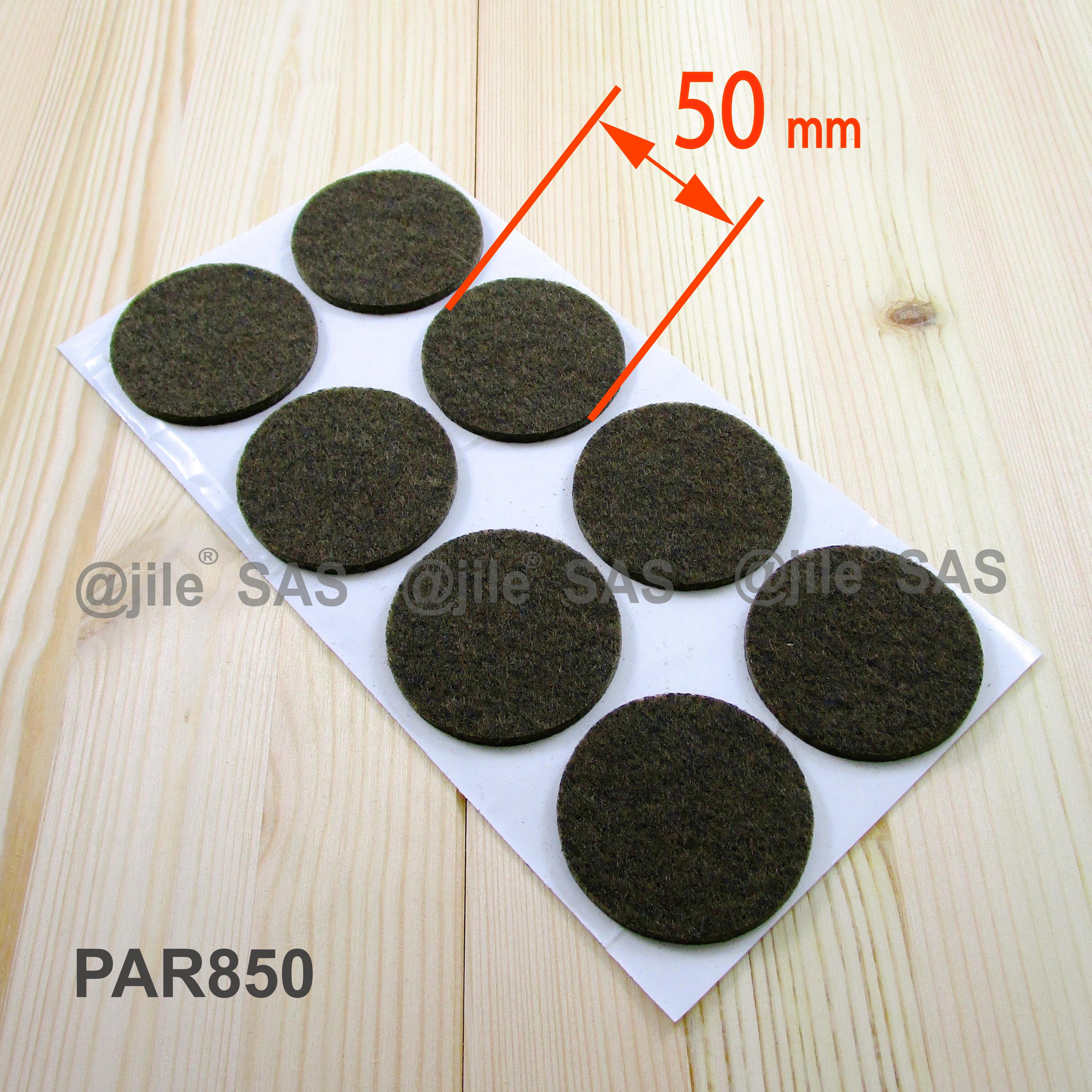 50 mm diameter round felt pads BROWN sheet of 8 anti scratch
