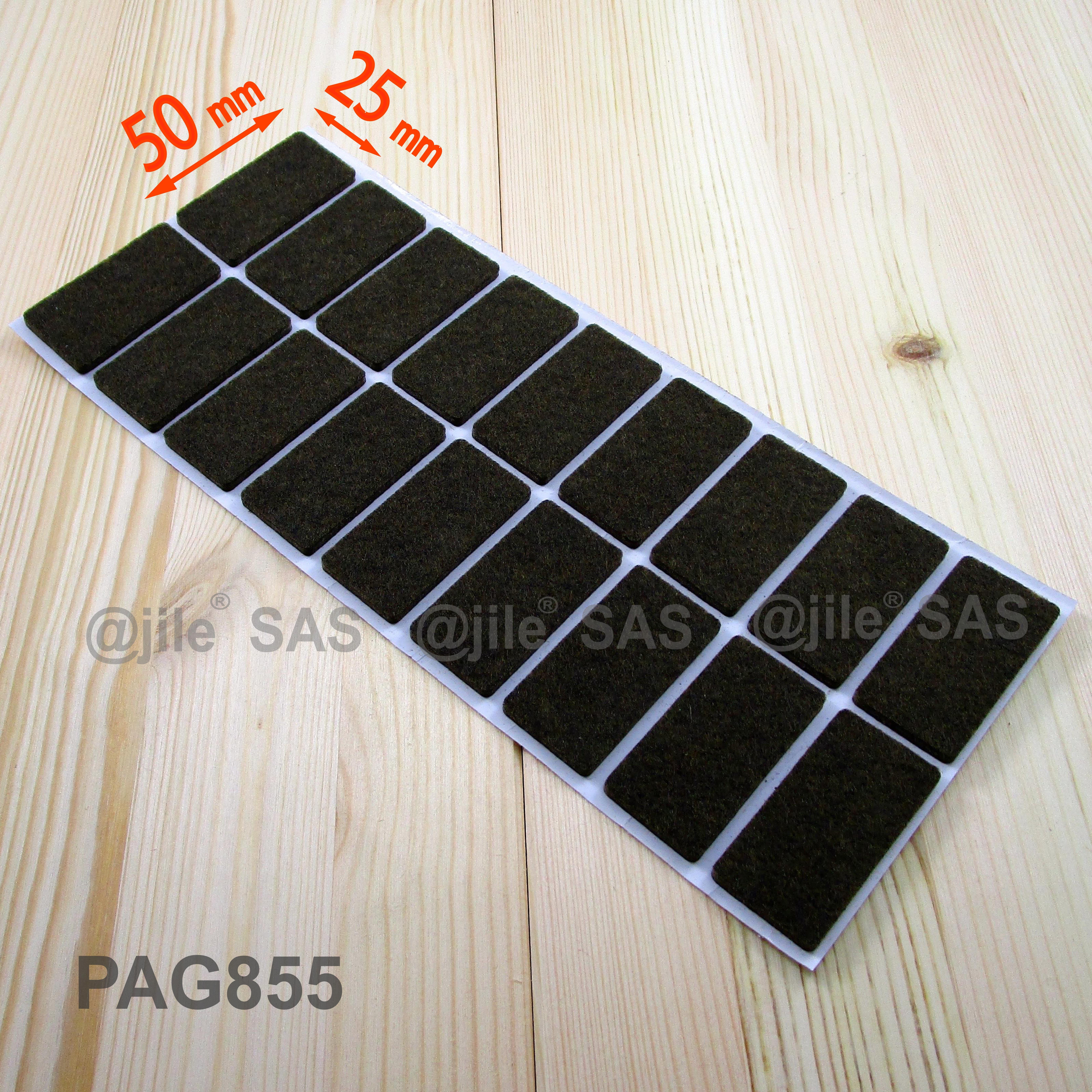 25x50 mm rectangular felt pads BROWN sheet of 18 stick on wood