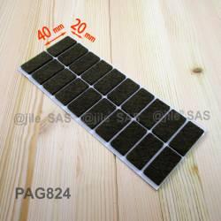 Patin feutre 20x40 mm rectangulaire de protection BRUN - plaque de 20 patins protecteurs adhésifs