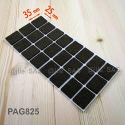 25x35 mm rectangular felt pads BROWN - sheet of 24 adhesive scratch protector felt pads.