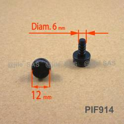Puntale di diam. 14 mm a fungo con diam. 6 mm in plastica con feltro.