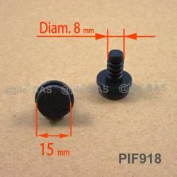 Puntale di diam. 18 mm a fungo con diam. 8 mm di plastica costampato con feltro.