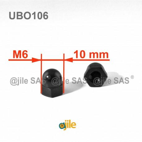 Dado M6 DIN1587 cieco esagonale di plastica - Chiave 10 mm - NERO - Ajile