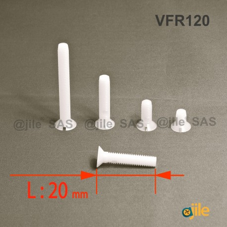 Vite M2 x 20 mm DIN963 di plastica, svasata con testa a spacco diam. M2 lunghezza 20 mm - Ajile