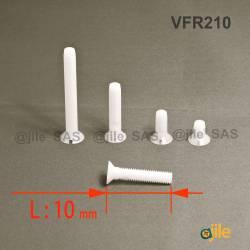 M2,5x10 : Vis plastique tête fraisée fendue diam. M2,5 longueur L:10 mm - Ajile