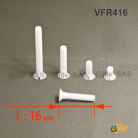 Vite M4 x 16 mm DIN963 di plastica, svasata con testa a spacco diam. M4 lunghezza 16 mm - Ajile