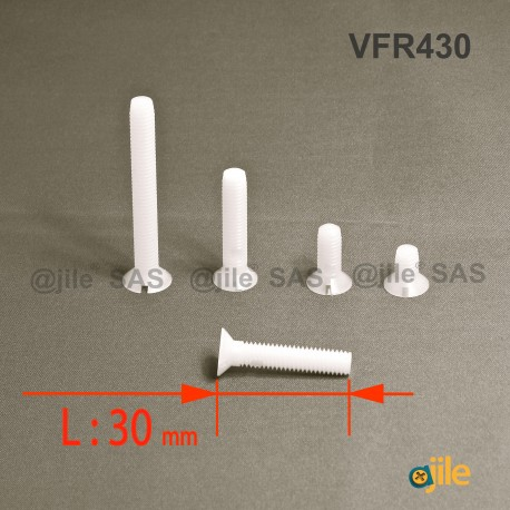 Vite M4 x 30 mm DIN963 di plastica, svasata con testa a spacco diam. M4 lunghezza 30 mm - Ajile