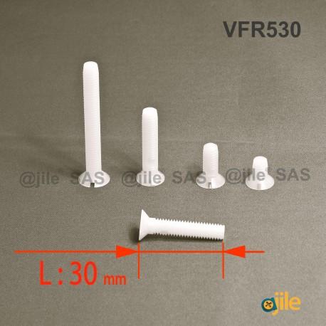 M5 x 30 DIN963 : Slotted plastic countersunk screw: diam. M5  length 30 mm - Ajile