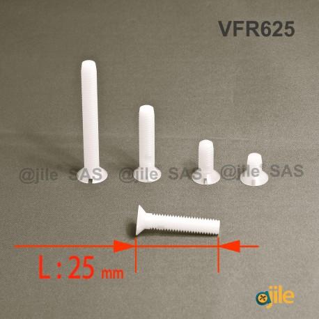 Vite M6 x 25 mm DIN963 di plastica, svasata con testa a spacco diam. M6 lunghezza 25 mm - Ajile