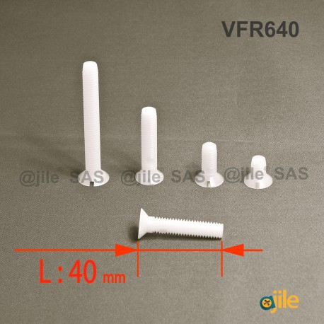 Vite M6 x 40 mm DIN963 di plastica, svasata con testa a spacco diam. M6 lunghezza 40 mm - Ajile